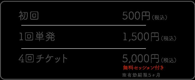 オンラインピラティスレッスン料金初回500円1回単発1500円4回チケット5000円個人セッションつき有効期限5ヶ月